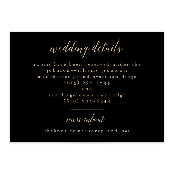 Marble and Gold Wedding Enclosure Card front in black