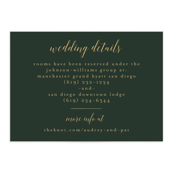 Marble and Gold Wedding Enclosure Card front in green