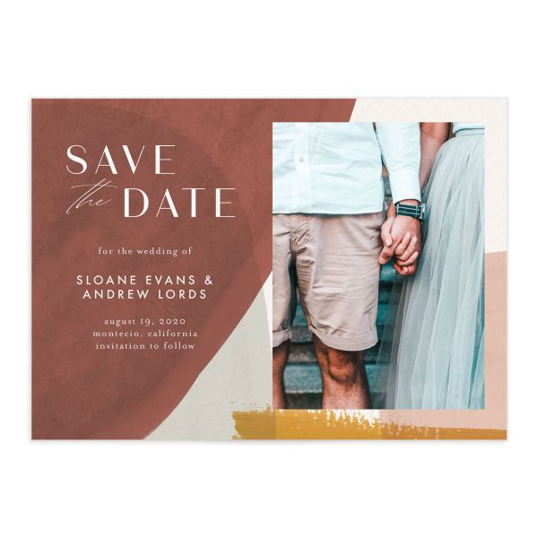 Abstract Watercolor save the date photo card in gold front