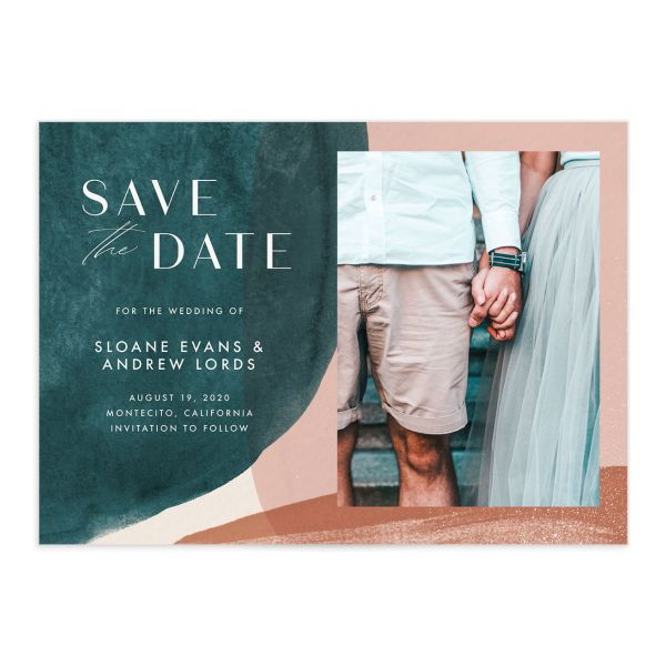 Abstract Watercolor save the date front in teal