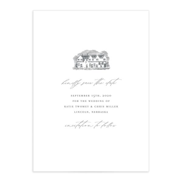 Classic Landscape Save the Date front in Estate catalog