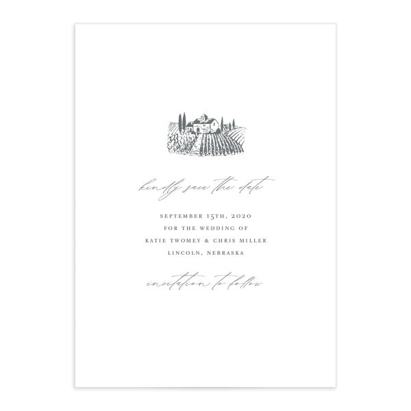 Classic Landscape Save the Date front in Vineyard catalog