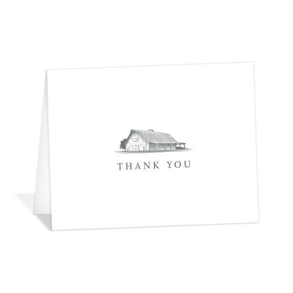 Classic Landscape thank you card folded featuring barn