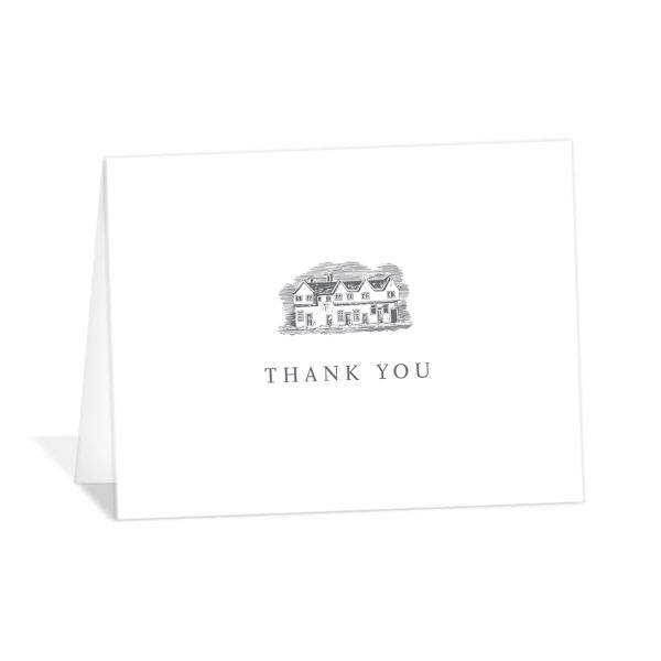 Classic Landscape thank you card folded featuring estate