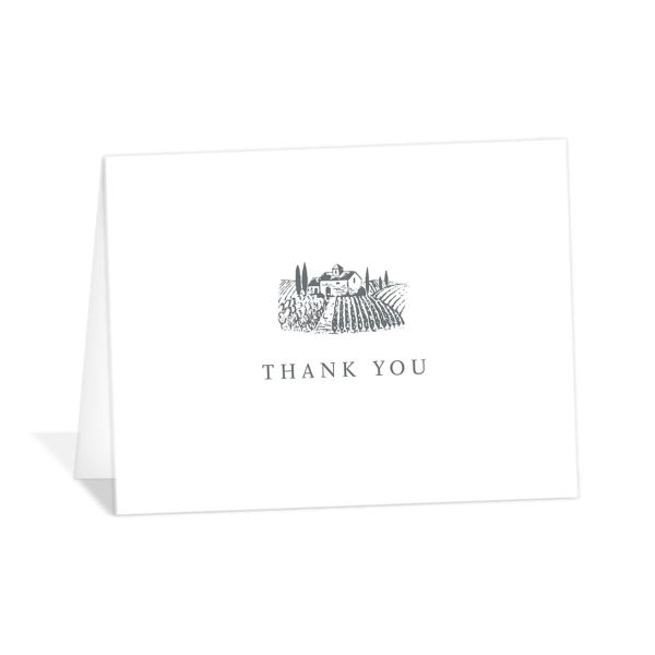 Classic Landscape thank you card folded featuring vineyard