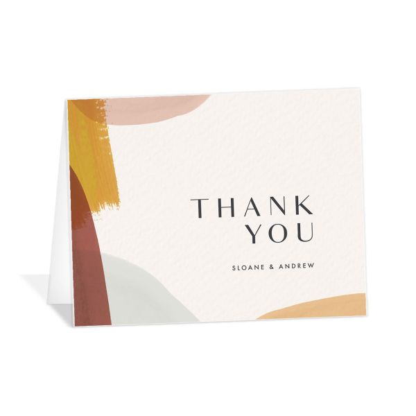 Abstract Watercolor thank you card in gold