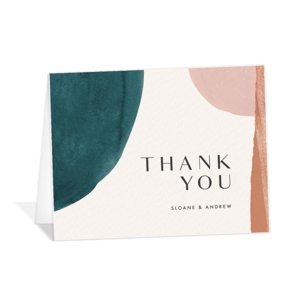 Abstract Watercolor thank you card in teal