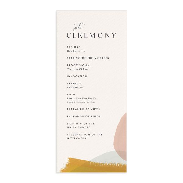Abstract Watercolor Wedding Program Front in gold