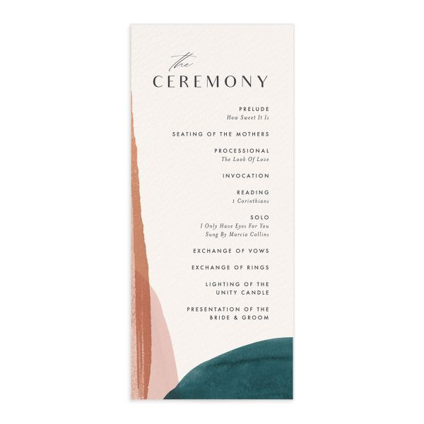Abstract Watercolor wedding program in teal front