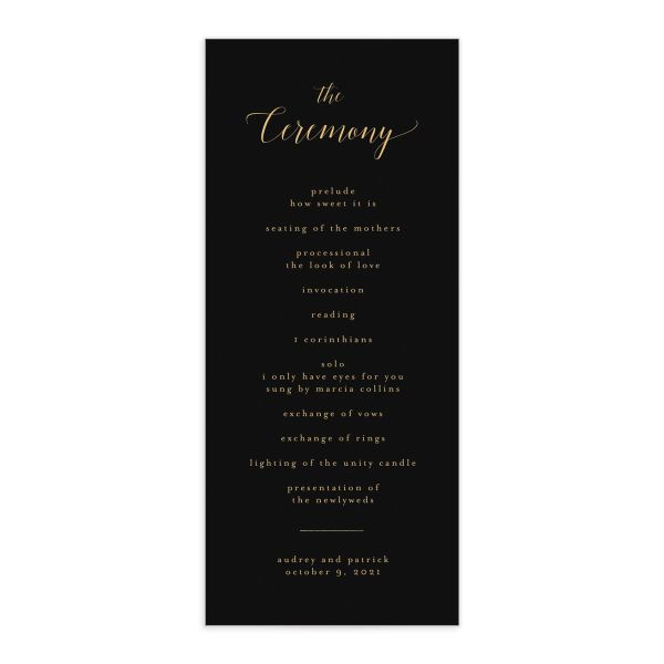 Marble and Gold Program card front in black