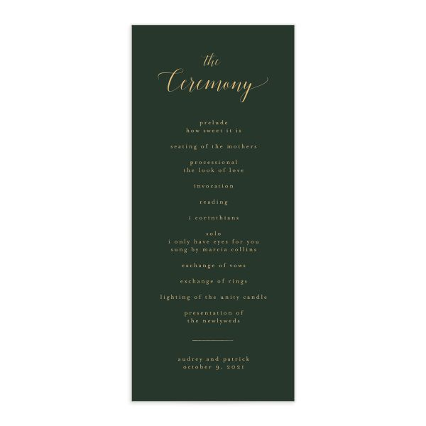 Marble and Gold Program card front in green