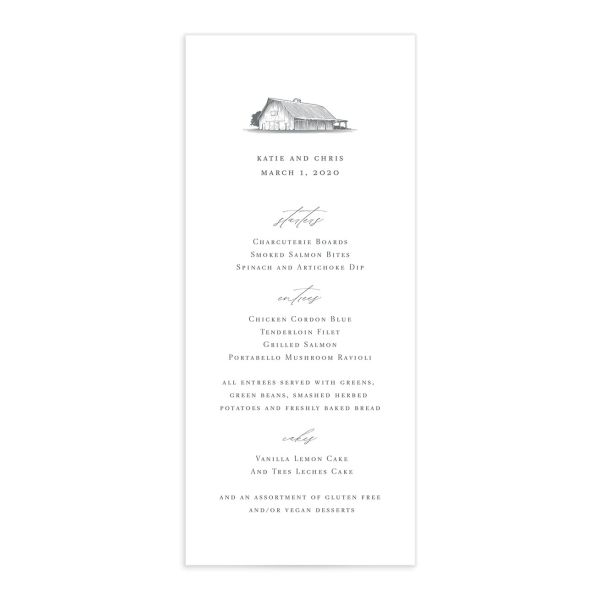 Classic Landscape Wedding Menu Front with Barn