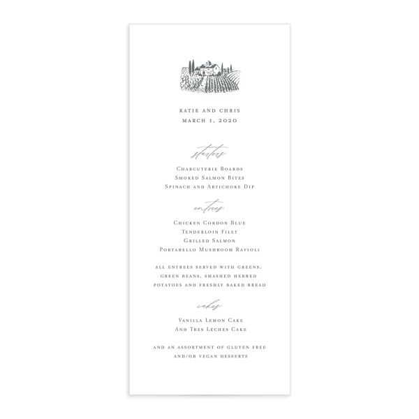 Classic Landscape Wedding Menu Front with Vineyard