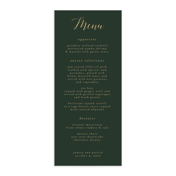 Marble and Gold Menu card front in green