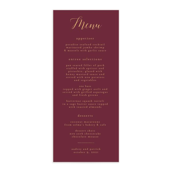Marble and Gold Menu card front in red