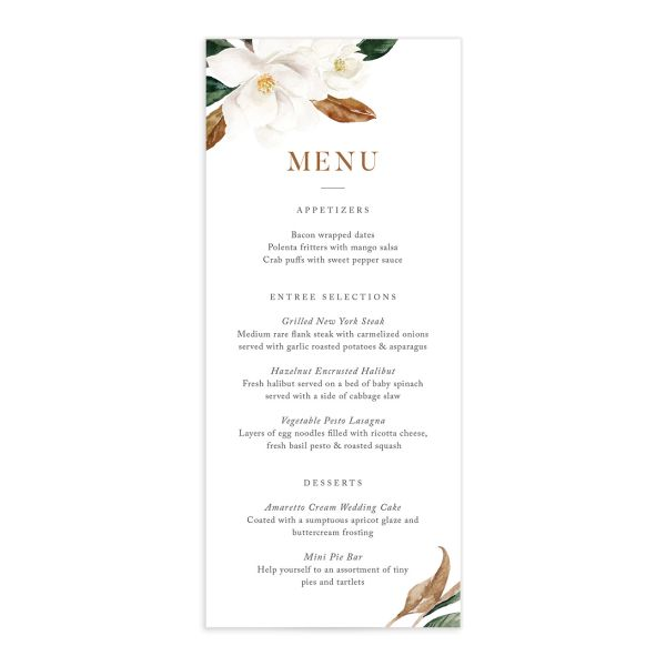 Painted Magnolia wedding menu front