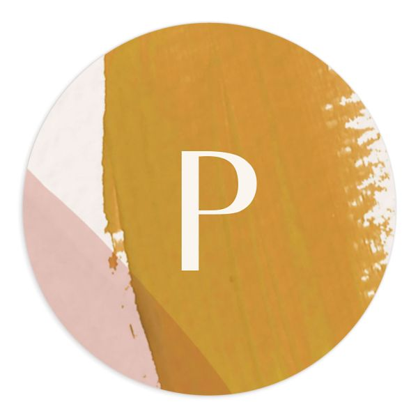 Abstract Watercolor Wedding Sticker in Gold