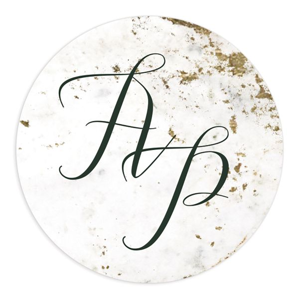 Marble and Gold Wedding Monogram Stickers in green