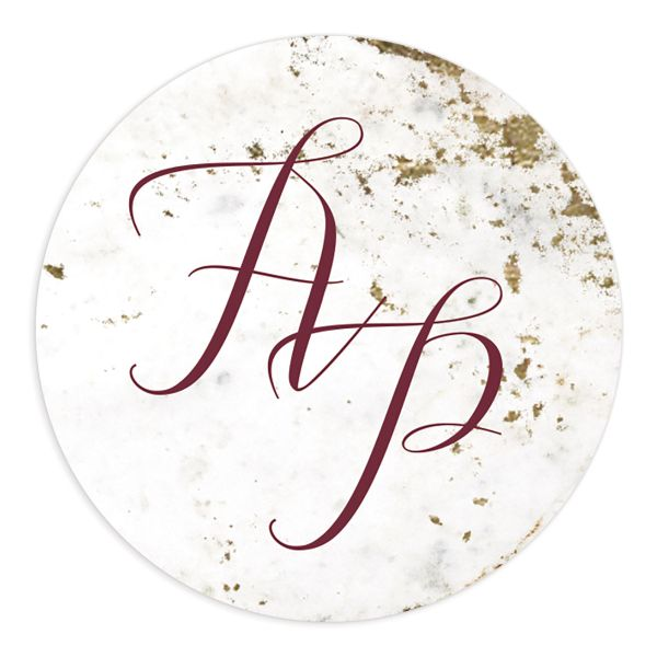 Marble and Gold Wedding Monogram Stickers in red