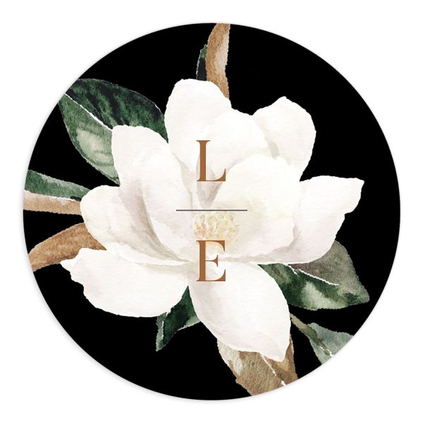 Painted Magnolia wedding sticker label black