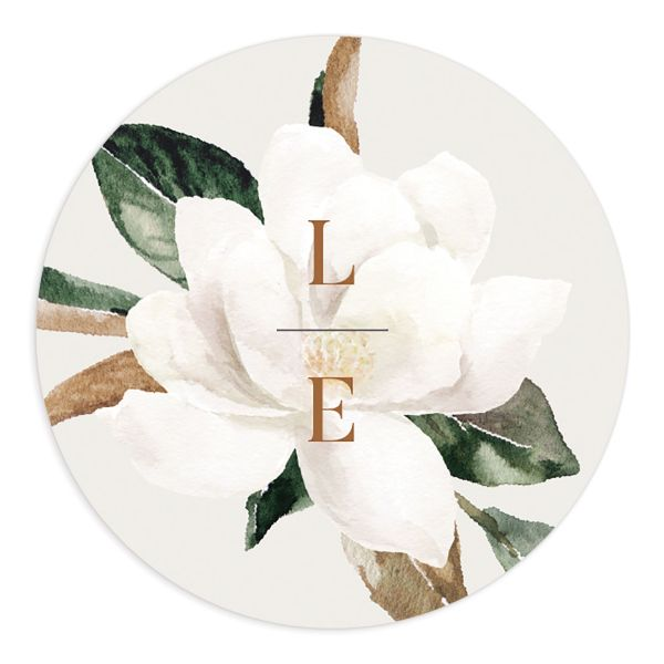 Painted Magnolia wedding sticker label grey