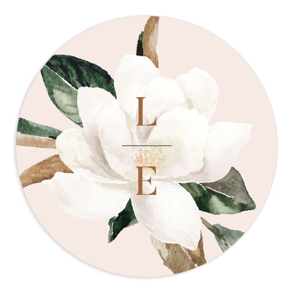 Painted Magnolia wedding sticker label pink