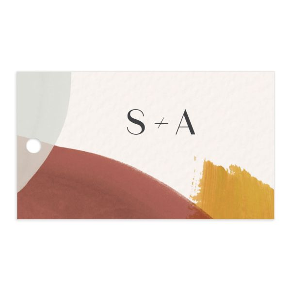 Abstract Watercolor wedding gift tag front in gold