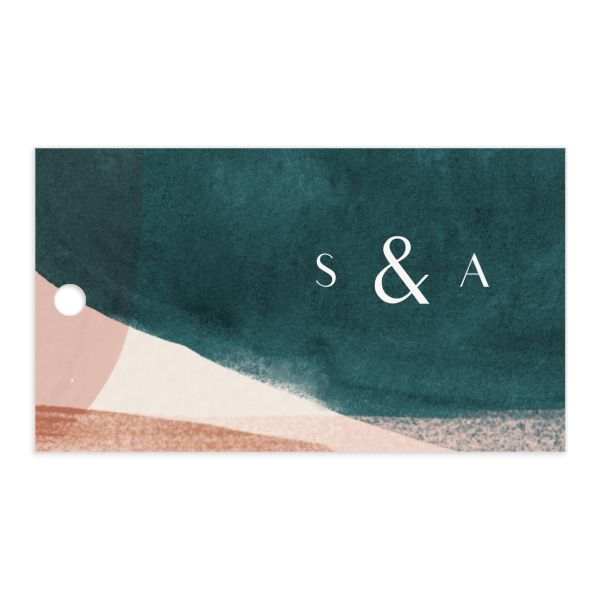 abstract watercolor wedding gift tag front in teal