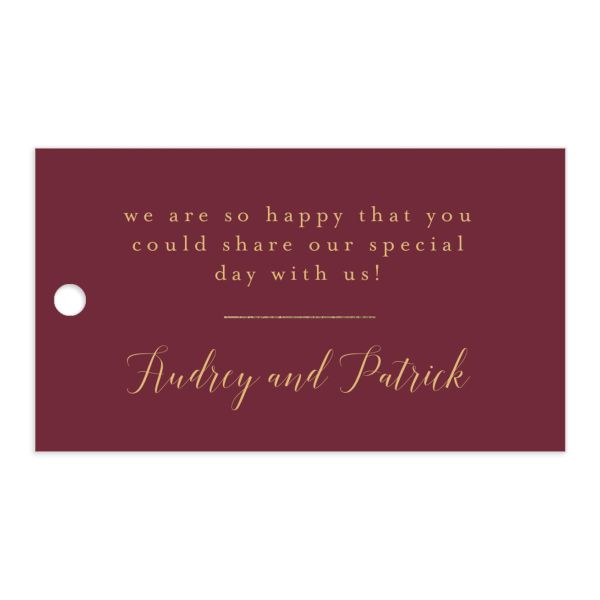 Marble and Gold gift tags in red front catalog image