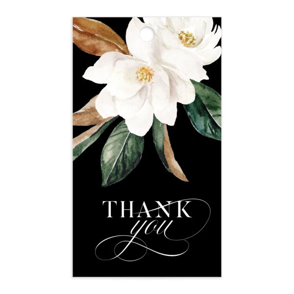 Painted Magnolia wedding favor gift tag front in black