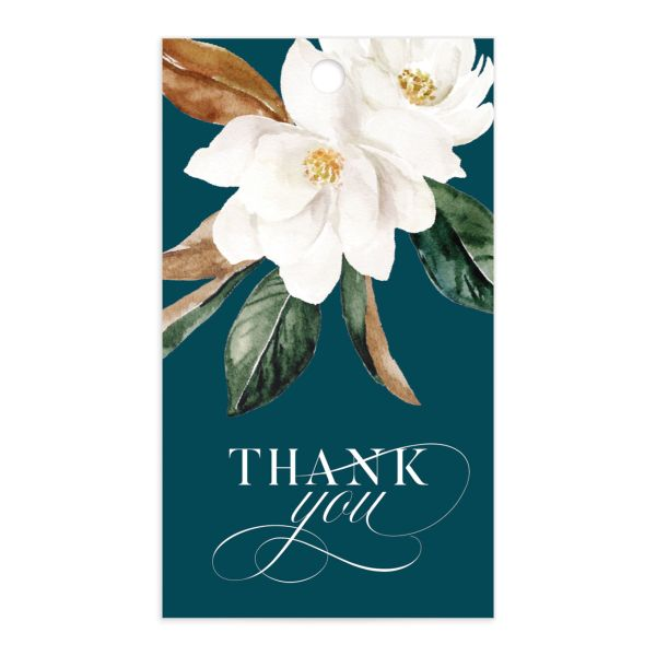 Painted Magnolia wedding favor gift tag front in teal