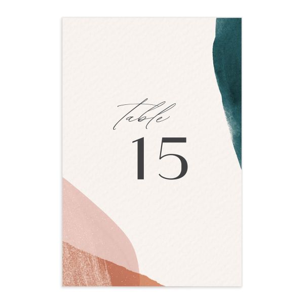 Abstract Watercolor Wedding Table Number front in teal