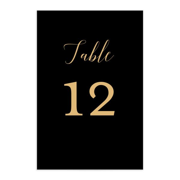 Marble and Gold table number front in black