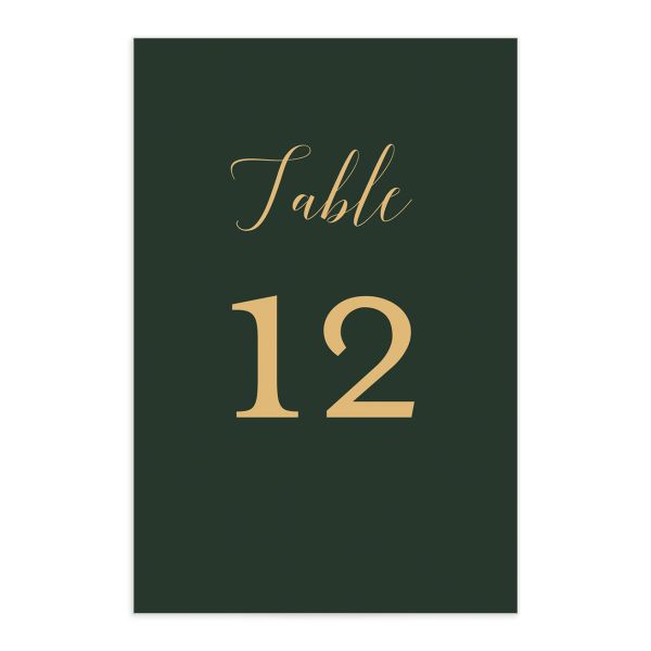 Marble and Gold table number front in green