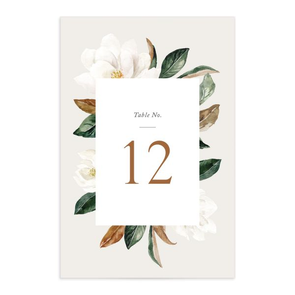 painted magnolia wedding table number front in grey