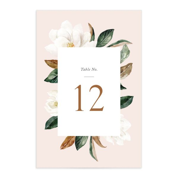 painted magnolia wedding table number front in pink