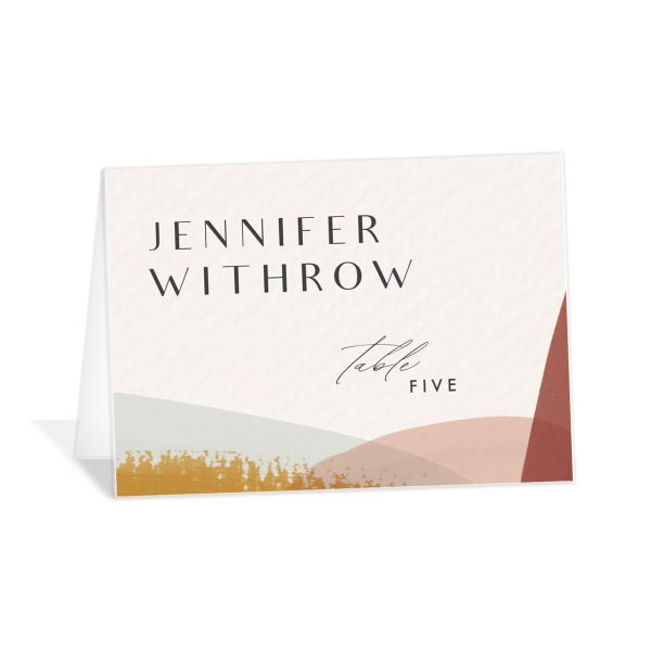 Abstract Watercolor place cards in teal