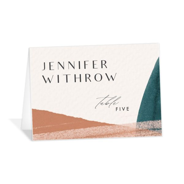 Abstract Watercolor place cards in marigold