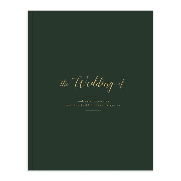 Marble and Gold guest book in green catalog image