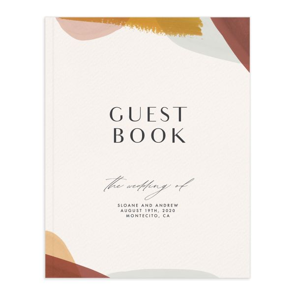 Abstract Watercolor wedding guest book front in marigold