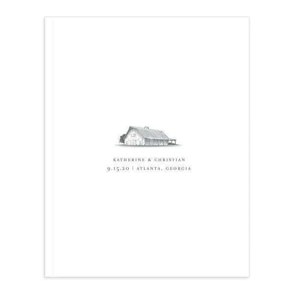 Classic Landscape Wedding Guest Book front with barn