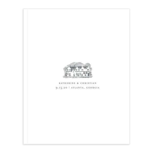 Classic Landscape Wedding Guest Book front with estate