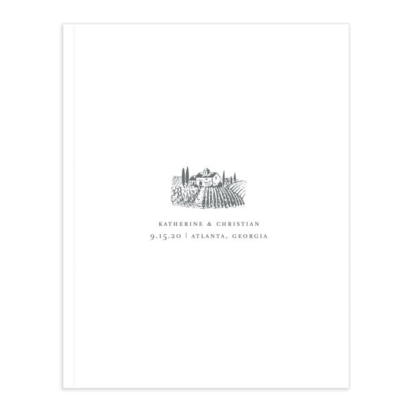 Classic Landscape Wedding Guest Book with Vineyard