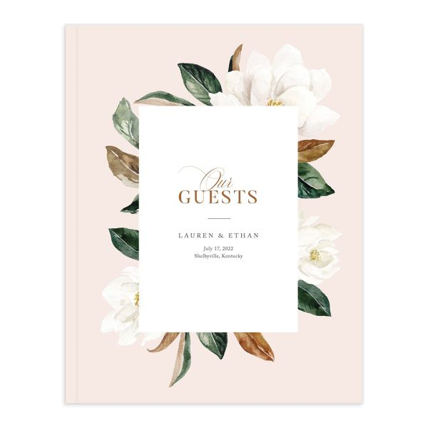 painted magnolia wedding guest book in pink
