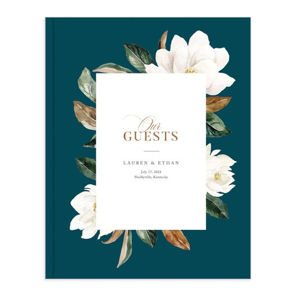 painted magnolia wedding guest book in teal