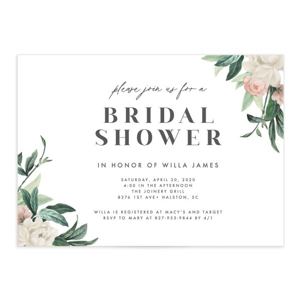 Botanica Bridal Shower Invitation front