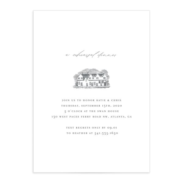 Classic Landscape rehearsal Dinner Invitation with estate