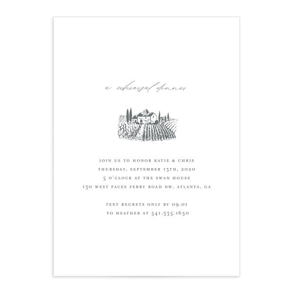 Classic Landscape Rehearsal Dinner Invitation Front with Vineyard