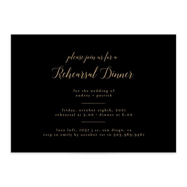 Marble and Gold Rehearsal Dinner invite in black front catalog image