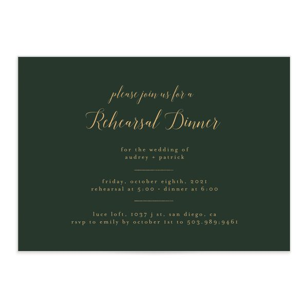 Marble and Gold Rehearsal Dinner invite in green front catalog image